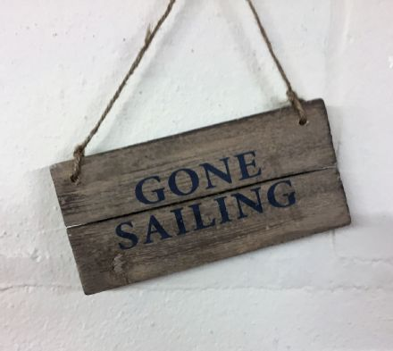 GONE SAILING  Driftwood Coastal Hanging Sign